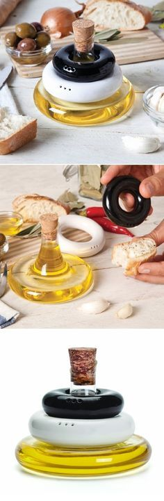 Stylish Table Set Olive Oil, Salt And Pepper Glass Dispenser And Two  Ceramic Shakers Stacking Contai