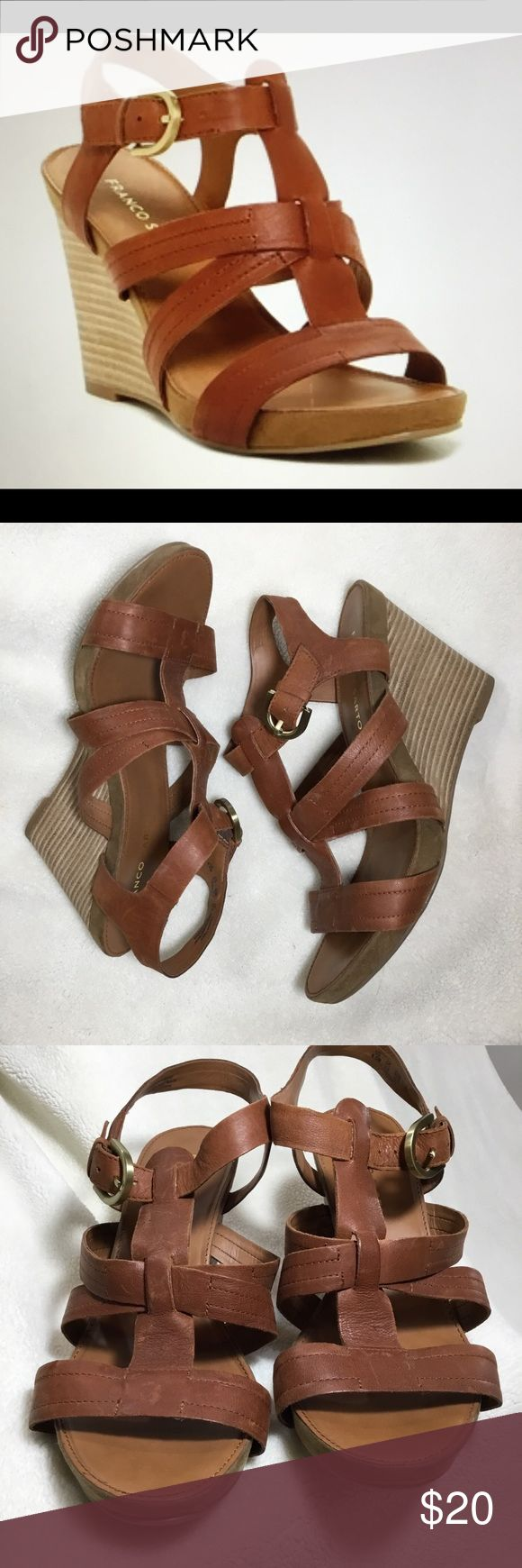 Franco Sarto Harriet Brown Leather Wedge Size 8.5 Franco Sarto Harriet Brown Leather Wedge Size 8.5.  Soft leather straps Comfortable wedge  Good used condition there are some signs of wear (please be sure to zoom in on the pics to see).  Offers are always welcome! Franco Sarto Shoes Wedges