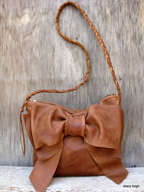 Leather Bow Cross Body Bag in Distressed Brown by Stacy Leigh
