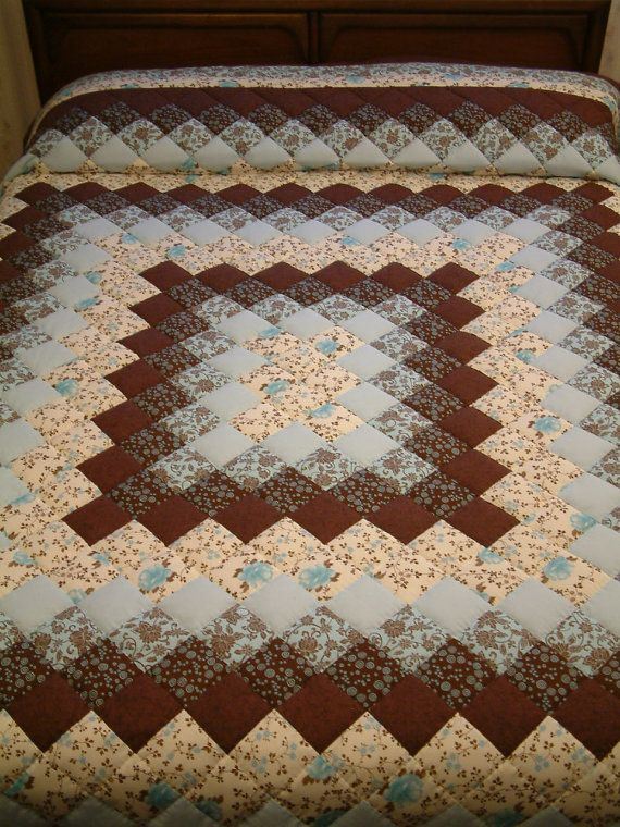 Trip Around The World Quilt Pattern Lap Size : Blue and Brown Hand-Quilted, Pieced, New, King size Trip Around the W?