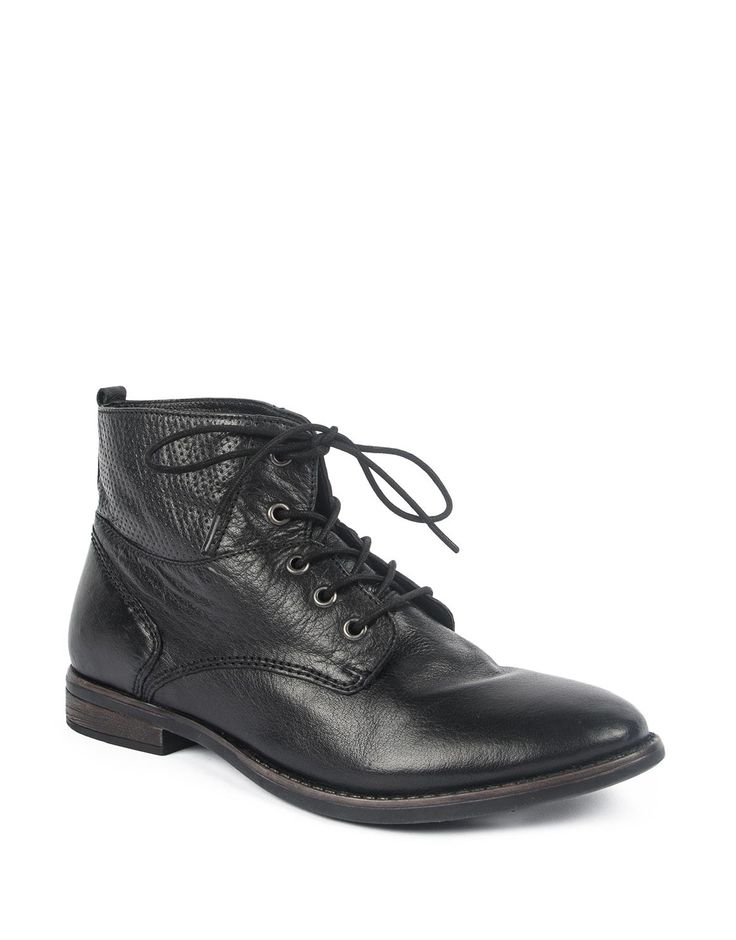 Leather Perforated Panel Boots