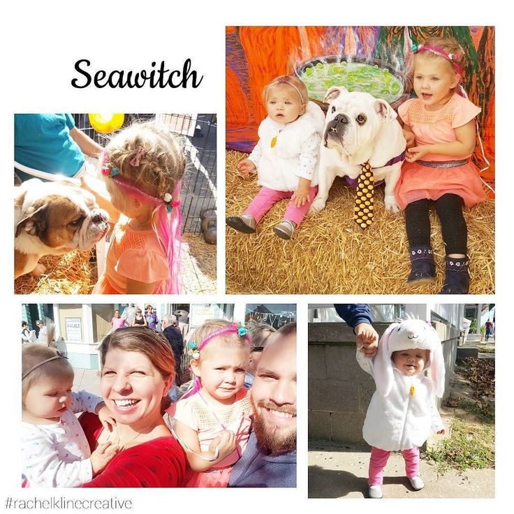 """Enjoyed the Seawitch festival and Halloween Parade this morning as a family. The girls LOVED the bulldogs from the bulldog rescue and Reagan spent her dollar on the """"kiss the bulldog"""" booth.  . . . #halloween #parade #seawitch #rehobothbeach #familyday #beachhouse #weekend #bulldog #bulldogrescue #fall #bunnycostume #babygirl #toddler #businesswoman #mompreneur #bossbabe #cuteness #princess #tutu #girlmom #halloweenparade"""
