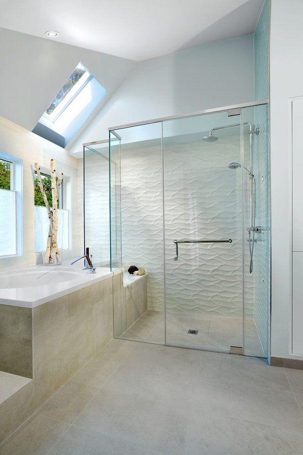 Tiled Showers Ideas White Wave Tile Contemporary Bathroom