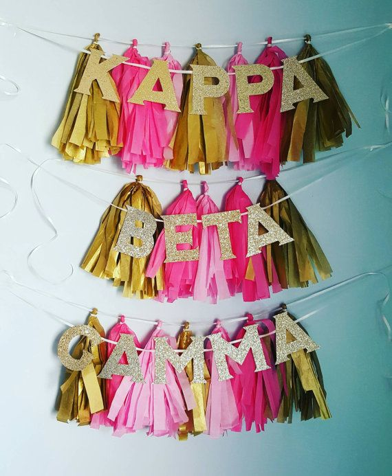 Sorority Tassel Garland Kit  Made from tissue tassles  Please note to seller Color of tassle _____________ Sorority name _____________ Number of lines ___________ Date needed _________  All kits will come with either silver or gold sparkle letters 4 in height for 2 lines and 3 1/2 for 3 lines  Want custom colors? Message me for more! Want a custom saying? Message me