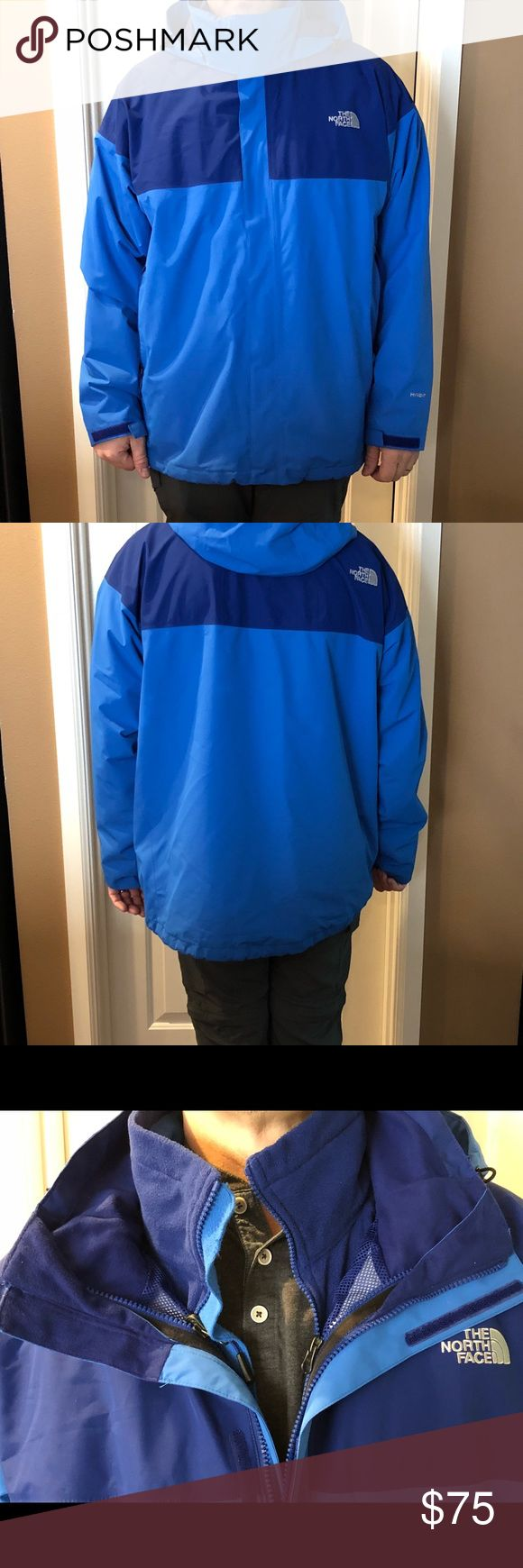 The North Face Men's 3in1 Ski Jacket Mens Ski Jacket, water resistant shell with a fleece liner jacket.  Fleece jacket zips inside.  Wear shell alone, with fleece zipped in or fleece alone.  In Perfect consist ion, only worn one time. The North Face Jackets & Coats Ski & Snowboard