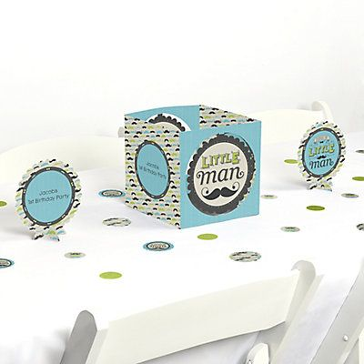 Dashing Little Man Mustache Party - Birthday Party Table Decorating Kit   BigDotOfHappiness.com