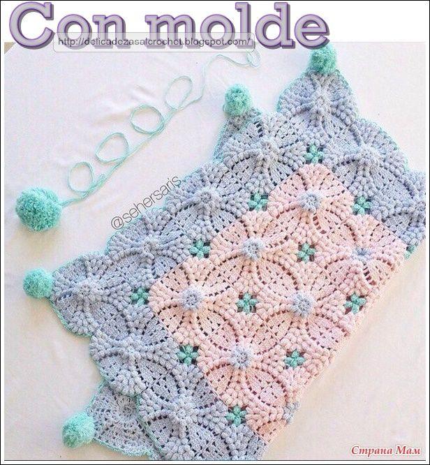 Delicadezas en crochet Gabriela: Maravilloso motivo para mantilla de bebè