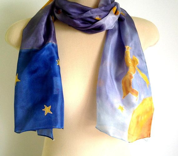 Little prince Silk scarf with blue and soft purple colors, stars and birds, painted silk scarf. Silk scarf with the lovely Little Prince, stars and