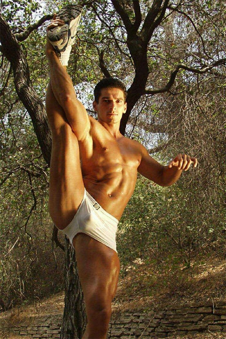 Sexy Muscle Man In Shorts With Big Bulge Stretching -4604