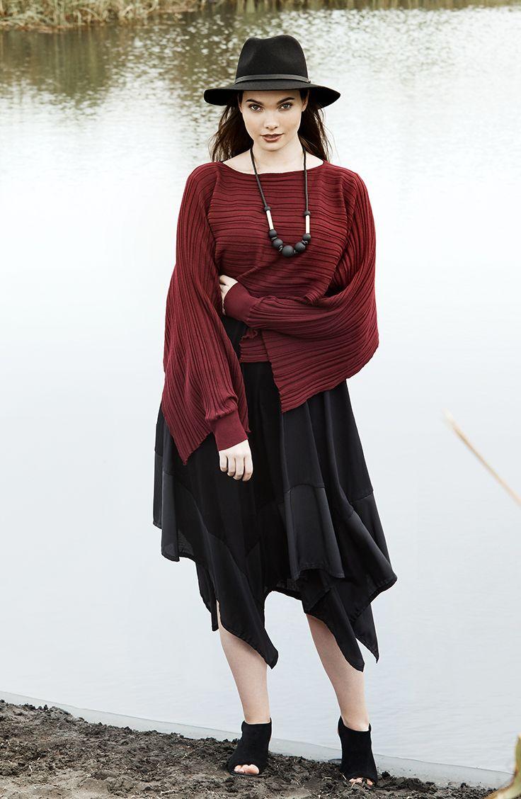 K+K - plus sized clothing for the curvy woman sizes 10-26. Autumn fashion. Winter fashion. Berry jumper. Jumper over dress. LBD. Little black dress. Midi dress.