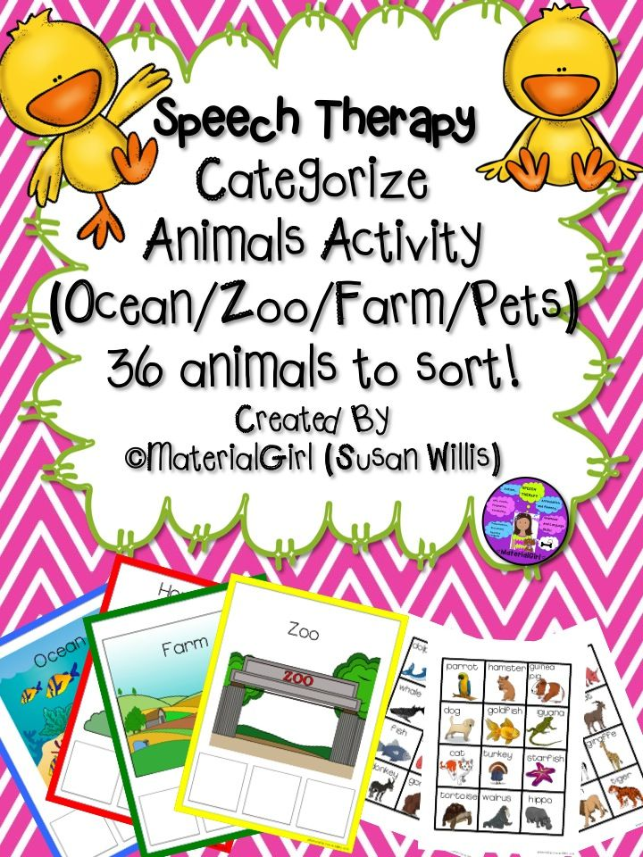Speech Therapy. Animal Categories. SORT animals into farm/zoo/ocean. Great for vocabulary and categorization task. #speech therapy #categories #vocabulary