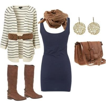 .Fashion, Outfit Ideas, Fall Style, Blue, Clothing, Fall Outfit, Cute Outfit, Brown Boots, The Dresses