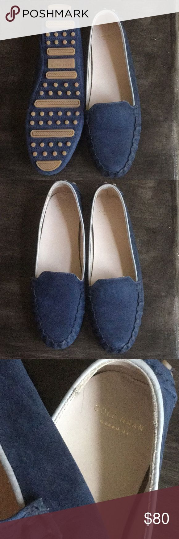 NWOTs Cole Haan newbuck drivers Gorgeous ocean blue never worn Cole Haan moccasin loafers Cole Haan Shoes Flats & Loafers