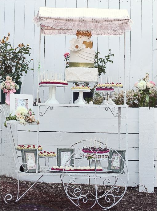 love this treat cart and cake design!