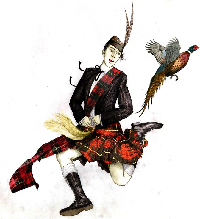 In highland dress.