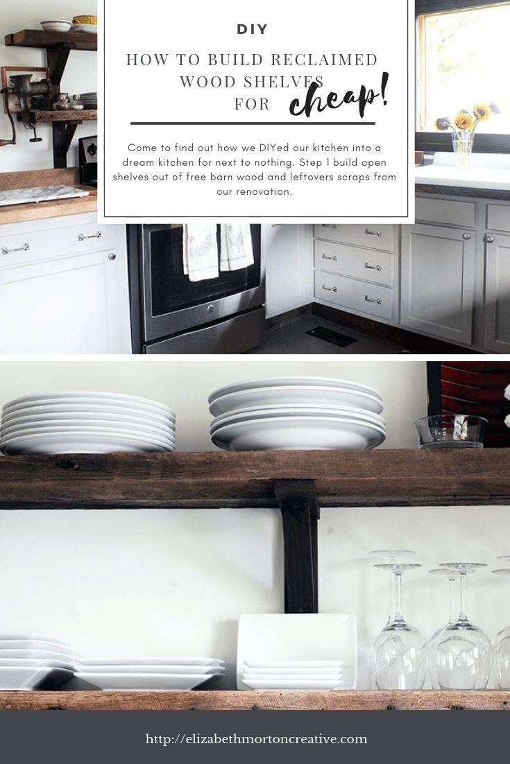 great tips on how to build easy cheap reclaimed wood shelves for rh pinterest com Wall Shelves for Small Kitchen Wall Shelves for Small Kitchen