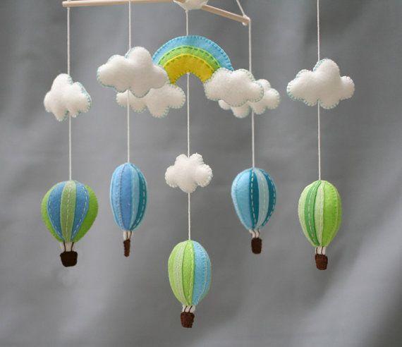Arcobaleno e mongolfiere baby mobile - blu e verde - bel cielo bambino mobile