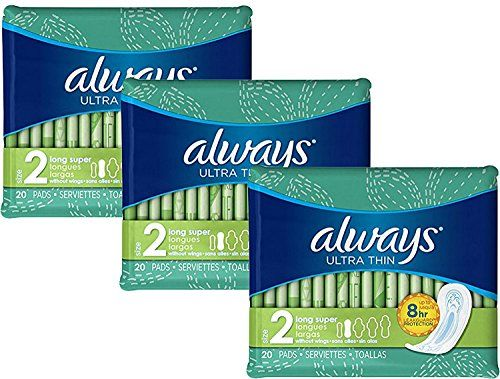 Always Ultra Thin Long Super Pads, 20-Count (Pack of 3) #Always #Ultra #Thin #Long #Super #Pads, #Count #(Pack
