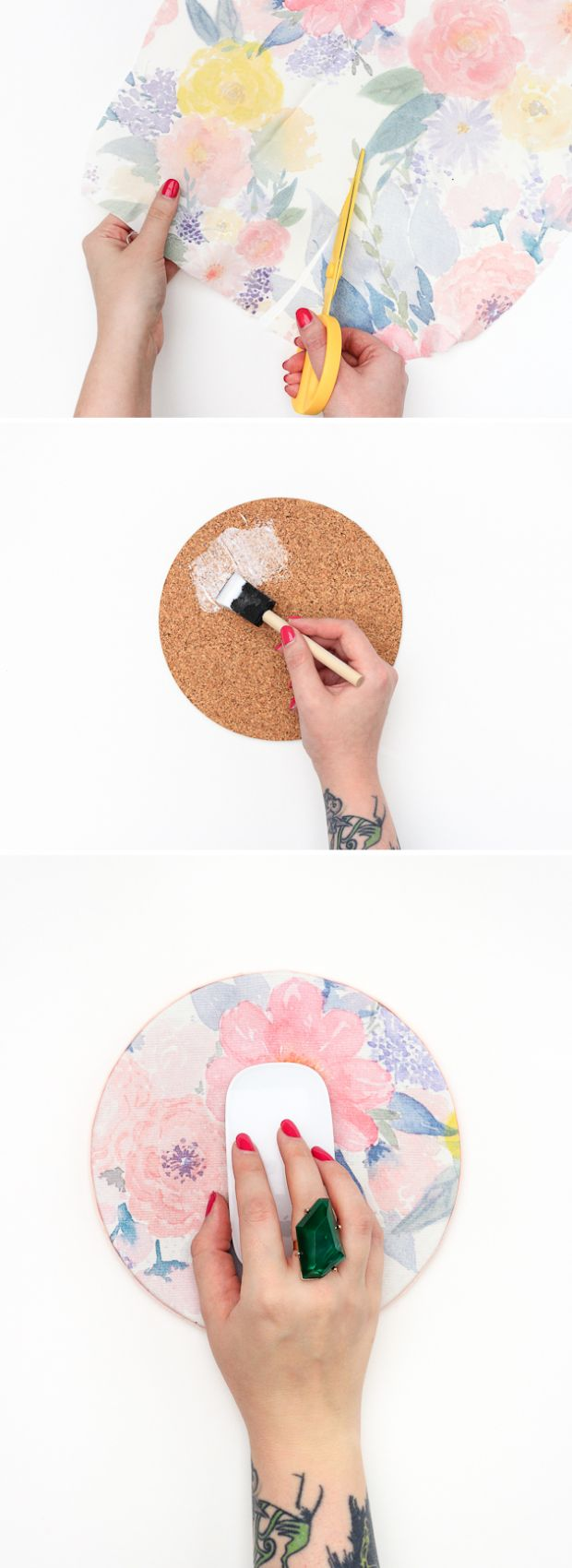 DIY Mouse Pad | 14 Cheap But Cute Dorm Room DIYs | http://www.hercampus.com/diy/decorating/14-cheap-cute-dorm-room-diys