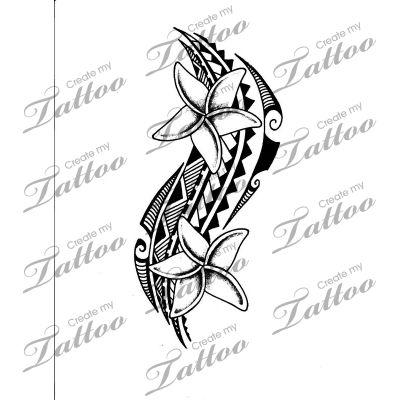 Marketplace Tattoo Plumeria with tribal #11210 | CreateMyTattoo.com