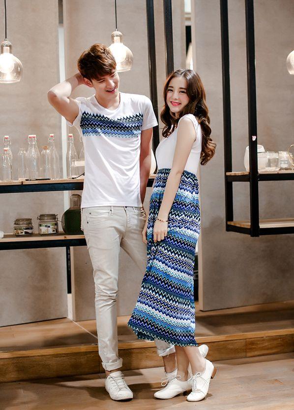 2015 Summer Look Slim Wear Low Price Casual Azure Couple Top