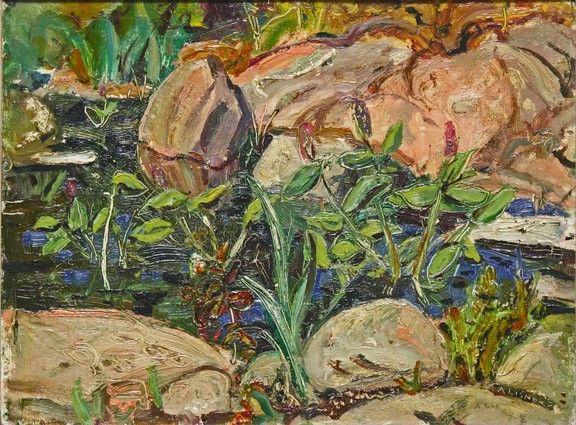 Arthur Lismer - Rocks and Pool Georgian Bay 1953 (probably August) 12 x 16 Oil on panel