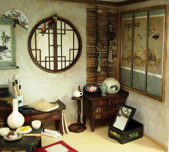 Miniature dollhouse Oriental themed room ~ lots of ideas for world traveler collections - original image unavailable