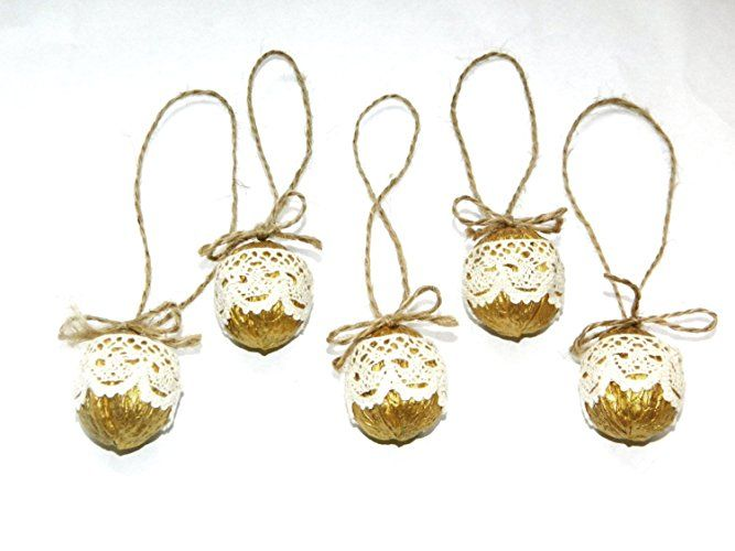 Christmas nuts ornament Golden rustic ornaments Lace Walnut Christmas tree decoration Stocking stuffer Christmas party favors Rustic home decor Country decor Cottage decor Woodland Set of 5