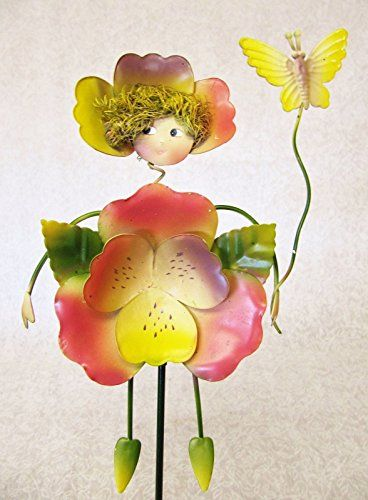 CUTE WHIMSICAL COLORFUL 3D METAL GARDEN STAKE PINK PANSY WITH BUTTERFLY  FAIRY    You Can