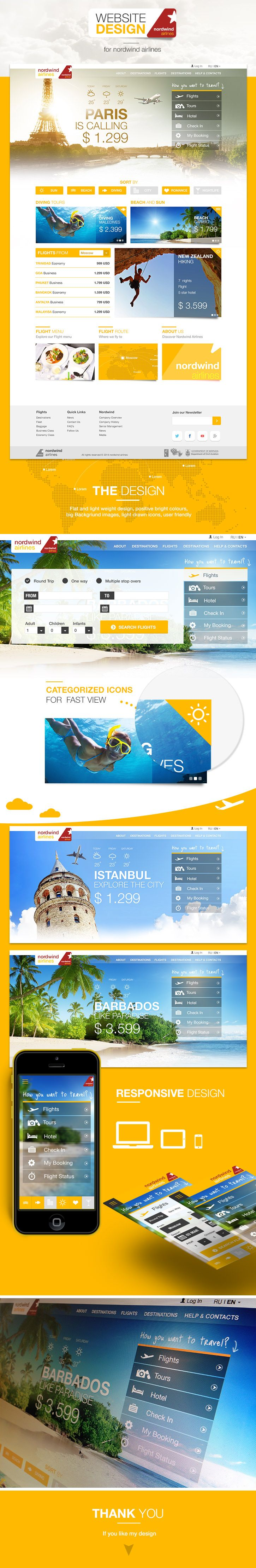 Nordwind Airlines web Design Charter airline company