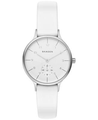 Skagen Women's Chronograph Anita White Silicone Strap Watch 34mm SKW2603 | macys.com