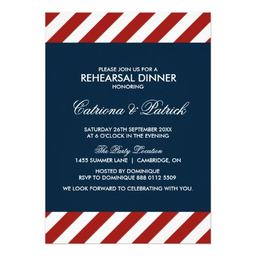 Blue and Red Nautical Rehearsal Dinner Invitation