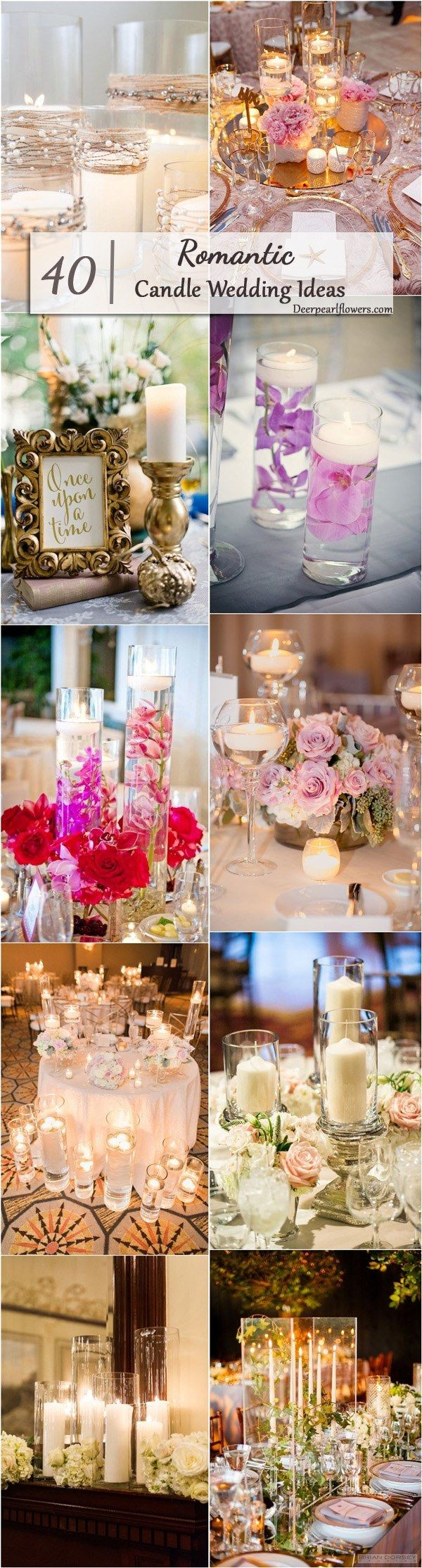 Candles Wedding Reception Centerpieces / http://www.deerpearlflowers.com/wedding-ideas-using-candles/2/