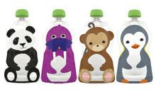 Aussie Bubs - Squooshi Reusable Food Pouches - Large 4 Pack  Pack - Retail Box and Ziplock Bag (online)