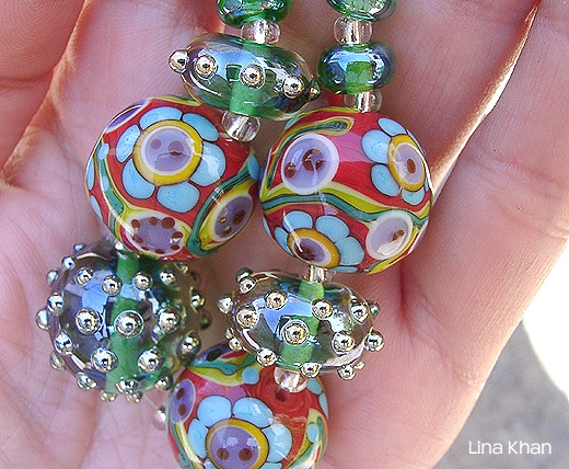 fantasy flower beads with emerald silver glass rounds