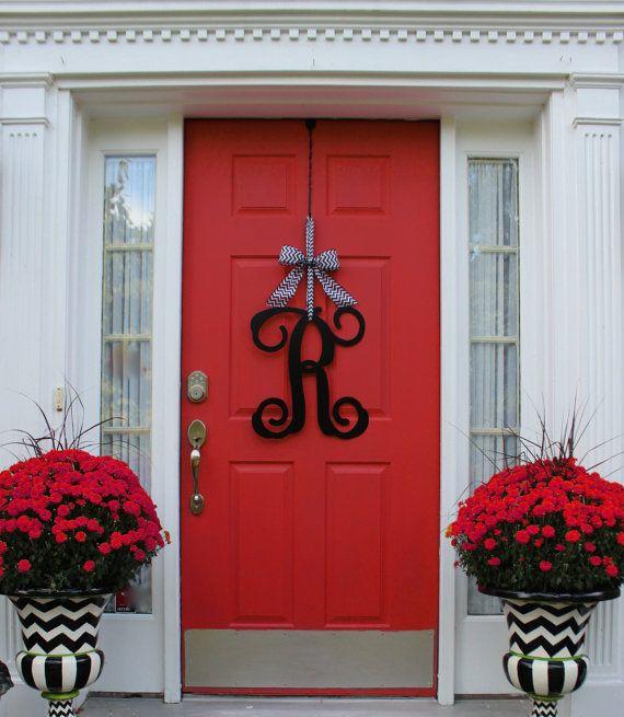 Monogram Wreath   Front Door Wreath   Monogram Decoration   Couples Gift    Choose Bow