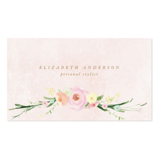 Rustic Watercolor Flowers Business Card #zazzle, #phrosnerasdesign #floral #businesscards #callingcards #contactcards
