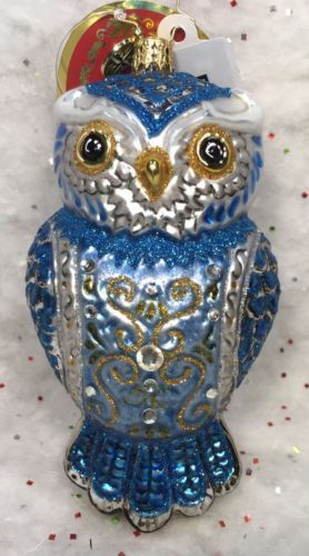 Christopher-Radko-Ornament-Owl-See-You-in-Winter-blue-silver-NWT-1017791-2014