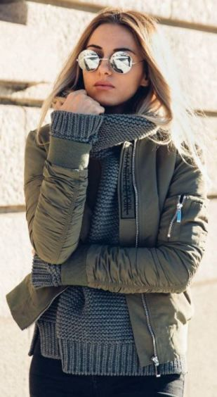 The look of this dark grey knit sweater underneath this army green bomber is so cute - Cute Winter Outfits To Copy Immediately Society19