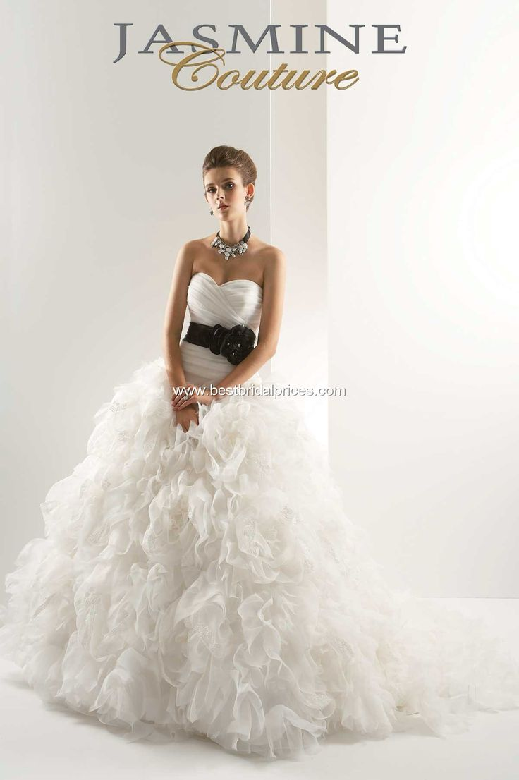 Jasmine Couture Wedding Dress. With a red belt! Gorg.