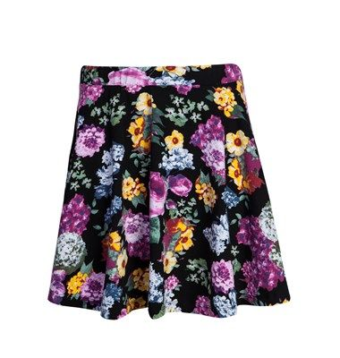 Flower print mini skirt