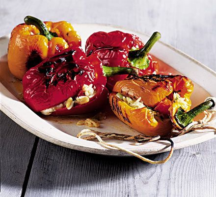 Barbeque : Vegetarian : Stuffed Peppers.  Commenters say this also works really well (if not better) in the oven and that meat eaters were snarfing them down too!
