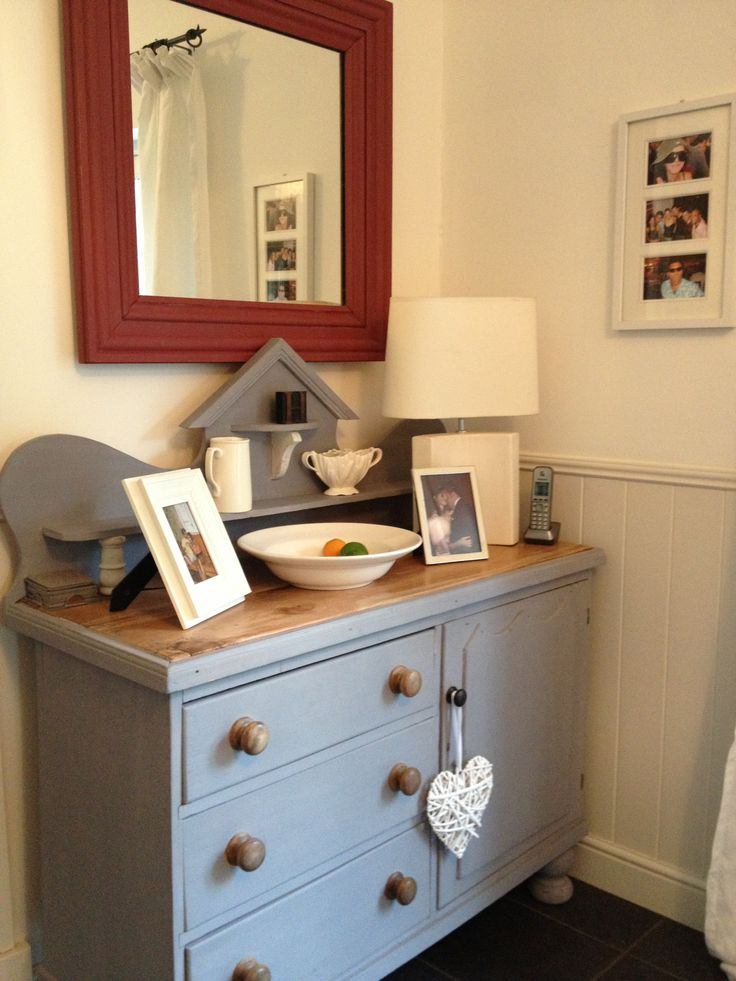 Victorian sideboard I bought over 20 years ago, painted in Authentico Bluey/Grey paint with hand-made mirror made from old dressing table and painted in Farrow and Ball Eating Room Red.