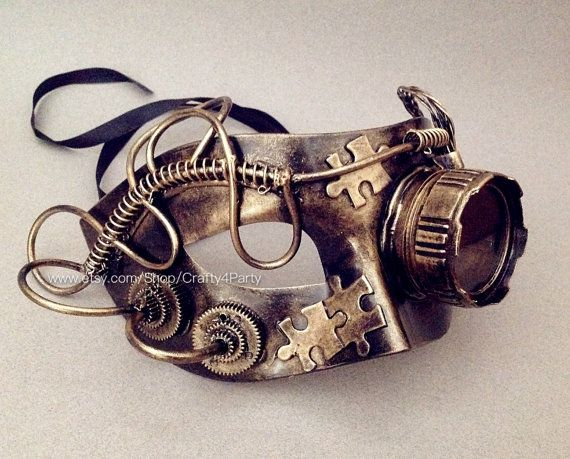Steampunk Metallic Unisex Mens masquerade ball mask with Goggle Warrior Military Prom Party by Crafty4Party | Smoked Glass Goggles
