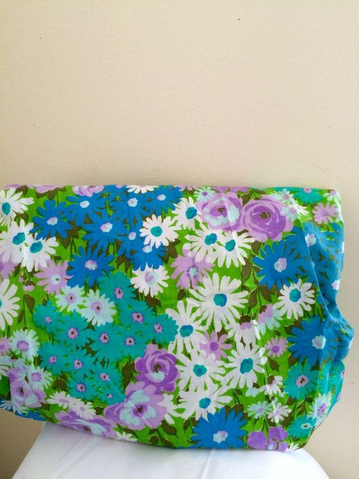 vtg unused twin fitted bed sheet flower floral mod 1970u0027s retro hippie 1960u0027s vintage bed case