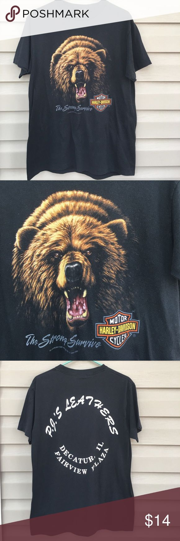 Harley Davidson black men's tee shirt Nice grizzly bear on front with'The Strong Survive, 3D emblem Fort Worth, TX 1991 on front, PJ's Leathers on back in white print, Decatur, IL 50% cotton 50% polyester, no stains or holes Harley-Davidson Shirts Tees - Short Sleeve