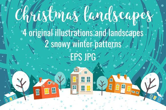 Greeting Christmas cards and pattern by primula on @creativemarket