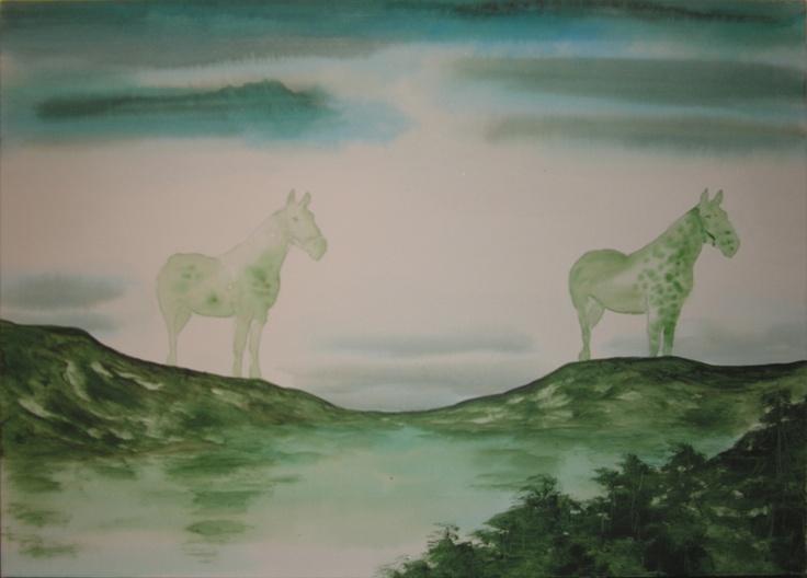 Pierluigi Pusole - Paesaggio con uomo - 2011 - Acrilico e acquerello su tela - 50 x 70 cm