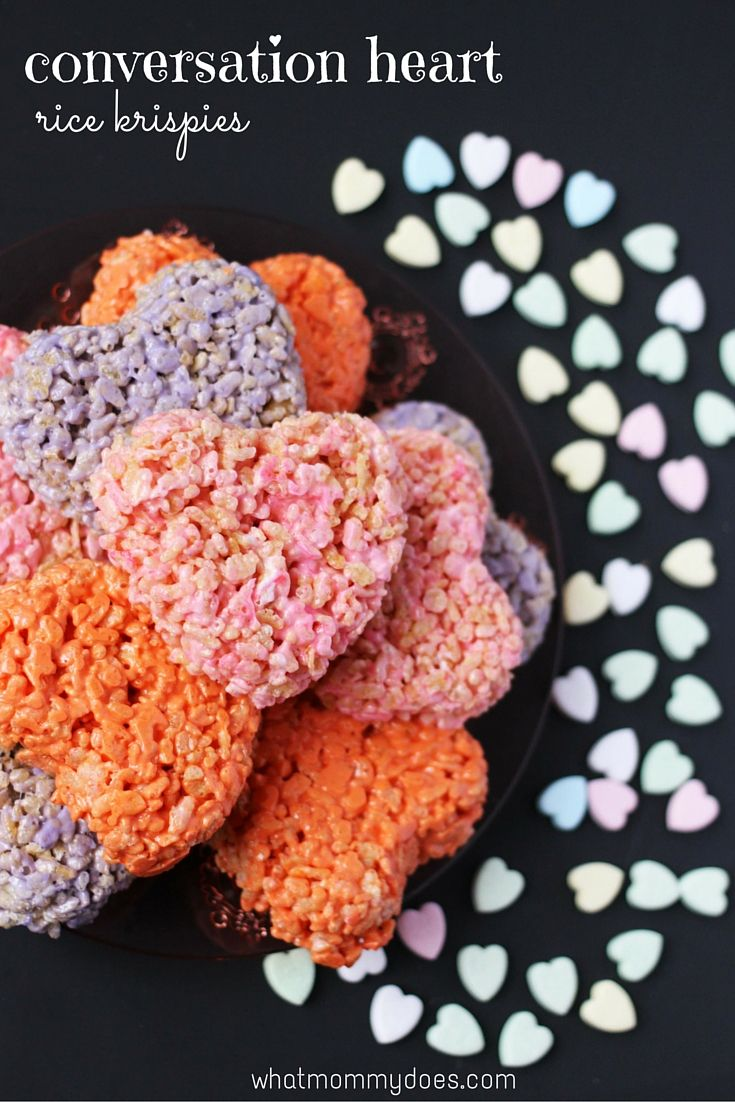 Valentine's Day Conversation Heart Rice Krispie Treats Recipe -