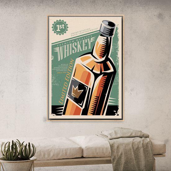 Πίνακας με κλασική εικονογράφηση από ουίσκι για τους αθεράπευτους λάτρεις του! #vintagecanvas #πίνακεςvintage #minimaldecoration #whiskeybottle